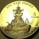 Gem Unc Marshall Islands 1998 $5.00~Battleship USS New Jersey~Excellent~Fr/Ship