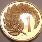 Rare Proof New Zealand 1981 Cent~Silver Fern Leaf~Only 18,000 Minted~Free Ship