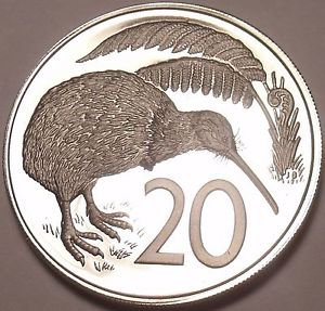 Rare Proof New Zealand 1981 20 Cents~Kiwi Bird~Only 18,000 Minted~Free Shipping