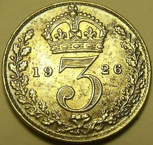 Awesome Au/Unc Silver Great Britain 1926 3-Pence~Fantastic~Scarce~Free Shipping