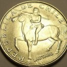 Unc Chile 1971 5 Escudos~Horse~Lautaro~Araucanian Indian~1st Year~Free Shipping*