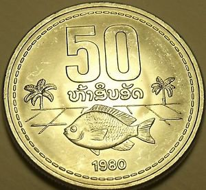Large Gem Unc Laos 1980 50 Att~Fish With Palm Trees~Awesome~Free Shipping