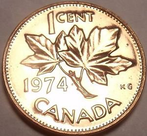 Proof Canada 1974 Maple Leaf Cent~Elizabeth II~213,589 Minted~Free Shipping