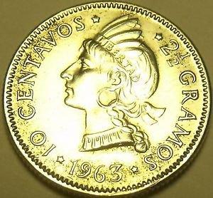 Silver Dominican Republic 1963 10 Centavos~100th Anniv Restoration Republic~F/S*