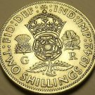 Unc Silver Great Britain 1942 2 Shillings~Crowned Tudor Rose~Shamrock~Free Ship