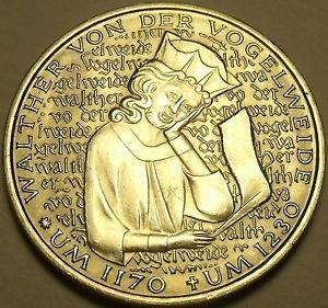 Gem Unc Germany 1980-D 5 Mark~750th Anniv Of Death Of Von Der Vogelweide~Free Sh