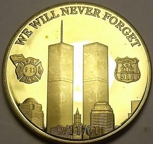24k Gold Plated 911 We Will Never Forget~Home Of The Brave~Proof Medallion~Fr/Sh