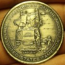 Large 39mm Apollo 11 Footprints On The Moon Medallion~Giant Leap For Mankind~F/S