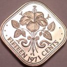 Rare Proof Bahamas 1971 15 Cents~Hibiscus~Triangle Coin~31K Minted~Free Shipping
