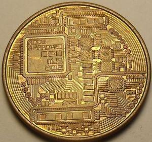 Bitcoin 2012 Solid Copper 1 Ounce Coin~Computer Circuits~Free Shipping