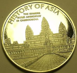 Cameo Proof Cook Islands 2005 Dollar~Angkor Wat Temple Siem Reap Cambodia~Fr/Shi