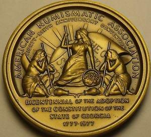 Gem Unc Solid Bronze 38.2mm ANA Atlanta Georgia 1977 Medallion~Free Shipping