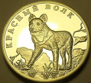 Fantasy Silver-Plated Proof Russia 2005 Rouble~Asiatic Wild Dog~Free Shipping