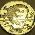 Extremely Rare Silver Proof Jamaica 1981 $10.00~3,216 Minted~Crocodile~Free Ship