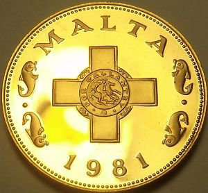 Rare Cameo Proof Malta 1981 Cent~The George Cross~Only 1,453 Minted~Free Ship