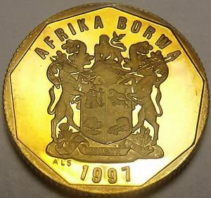 Rare Proof South Africa 1997 50 Cents~Only 3,596 Minted~AFRICA BORWA~Free Ship