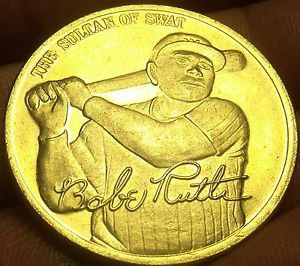 22k Gold Plated Babe Ruth The Sultan Of Swat Lifetime Statistics Medallion~Fr/Sh