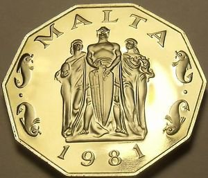 Rare Massive Cameo Proof Malta 1981 50 Cents~Great Siege~1,453 Minted~Free Ship