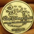 Walt Disney World Gem Unc 1971-1996 25 Year Anniversary Medallion~Free Shipping
