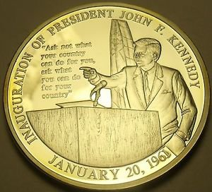 Silver Plated Proof John F Kennedy Inauguration Speech 40mm Medallion~Free Ship