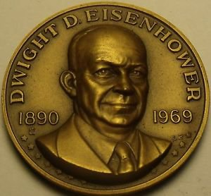 Huge 39.5mm Danbury Mint Dwight D. Eisenhower Bronze Life History Medallion~Fr/S