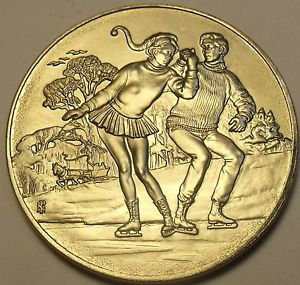Gem Unc Franklin Mint Christmas Ice Skating Duet Medallion~Awesome~Free Ship