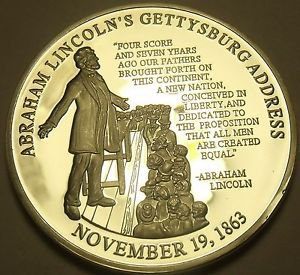 Silver Plated Proof Abraham Lincoln Gettysburg Address 40mm Medallion~Free Ship
