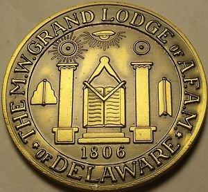 Large 38.1mm Solid Bronze Grand Lodge Of Delaware Masonic Medallion~Free Ship