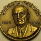 Huge 39.5mm Danbury Mint Harry S. Truman Solid Bronze Life History Medallion~F/S