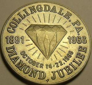 Gem Unc 38.5mm Collingdale Pennsylvania Diamond Jubilee Medallion~1966~Free Ship