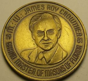 Large 39.1mm Solid Bronze Grand Master Of Masons Of Florida Medallion~Free Ship