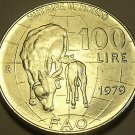 Large Gem Unc Italy 1979 F.A.O. 100 Lire~Cow Nursing Calf~Free Shipping