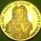 24k Gold-Plated Proof The British Museum Medallion~Sir Hans Sloane~37.8mm 20g