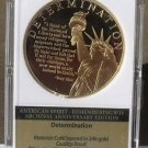 Remembering 9/11 24k Gold Plated Proof 40mm Medallion~Determination