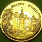 24k Gold-Plated Proof Cardiff Castle Medallion~37.8mm 20g