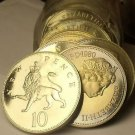 Cameo Proof Roll (20) Large Great Britain 1980 10 Pence Coins~Crowned Lion~Fr/Sh