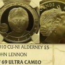 Alderney 2010 5 Lire NGC Proof 69 Ultra Cameo~John Lennon~Rare~Free Shipping