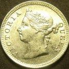 Hong Kong 1901 5 Cents Silver Unc~Free Shipping