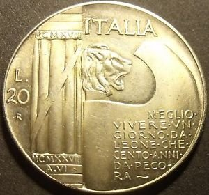 Rare Silver Fantasy Italy 1928-R 20 Lire~10th Anniversary - End of World War1