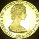 British Virgin Islands 1984 Dollar~Rare Silver Proof~1,629 Minted~Frigate~Fr/Shi
