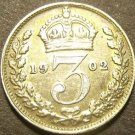 Great Britain 1902 3 Pence Silver~Excellent~Free Shipping
