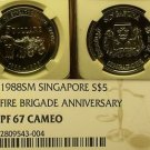 Singapore 1988 $5 Fire Brigade NGC PF-67 Cameo 100th Anniv~POP 1~Rare~Free Ship
