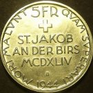 Switzerland 1944-B 5 Francs Silver Unc~Battle of St. Jakob An Der Birs~Free Ship