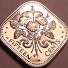 Rare Proof Bahamas 1976 15 Cents~Triangle Coin~Hibiscus~23,000 Minted~Free Ship