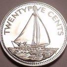Rare Proof Bahamas 1976 25 Cents~16,000 Minted~Bahamian Sloop~Free Shipping