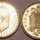 PROOF SPAIN 1975(77) 1 PESETA<PROOF>FREE SHIPPING~NICE!