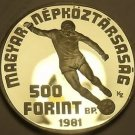 Hungary 1981 500 Forint Silver Proof~World Football Championship~Free Shipping