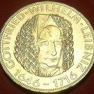 Gem Unc Silver Germany 1966-D 5 Mark~250th Anniv Gottfried Wilhelm Leibniz~Fr/Sh
