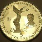El Salvador 1971 5 Colones Rare Silver Proof~Liberty Statue~Independence~FR/Ship