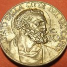 Rare Vatican 1930 10 Centesimi~St.Peter~Only 90,000 Minted~Free Shipping